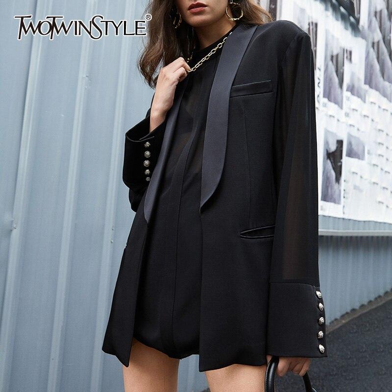 Twotwinstyle vinatge solto blazer feminino gola entalhada manga comprida retalhos botão terno para roupas de moda feminina 2020 maré