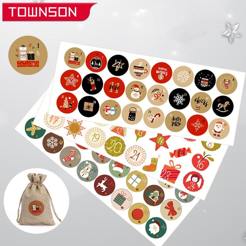 Рождественские наклейки, Рождественская подарочная упаковка, Искусственные Рождественские декоративные наклейки, упаковка, Подарочная ко...
