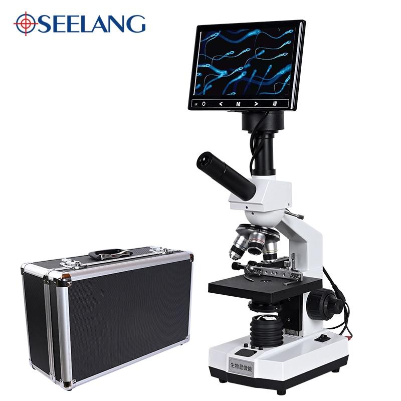 TV نوع المهنية مختبر الحيوانات المنوية البيولوجية HD مجهر ثنائي العينين التكبير 2000X + USB 5MP الإلكترونية الرقمية العدسة 7 بوصة LCD