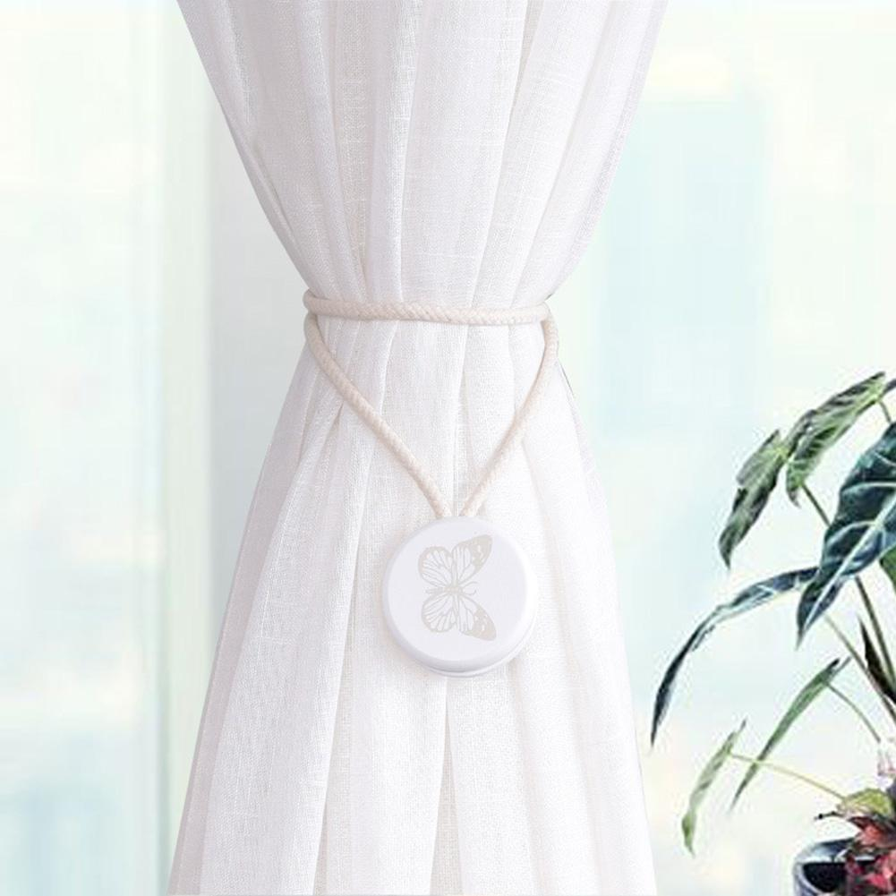 Discos de madera de estilo nórdico con diseño de pájaro, mariposa, flor, hebilla magnética para cortinas, gancho magnético, Clip para decoración del hogar, accesorios para cortinas