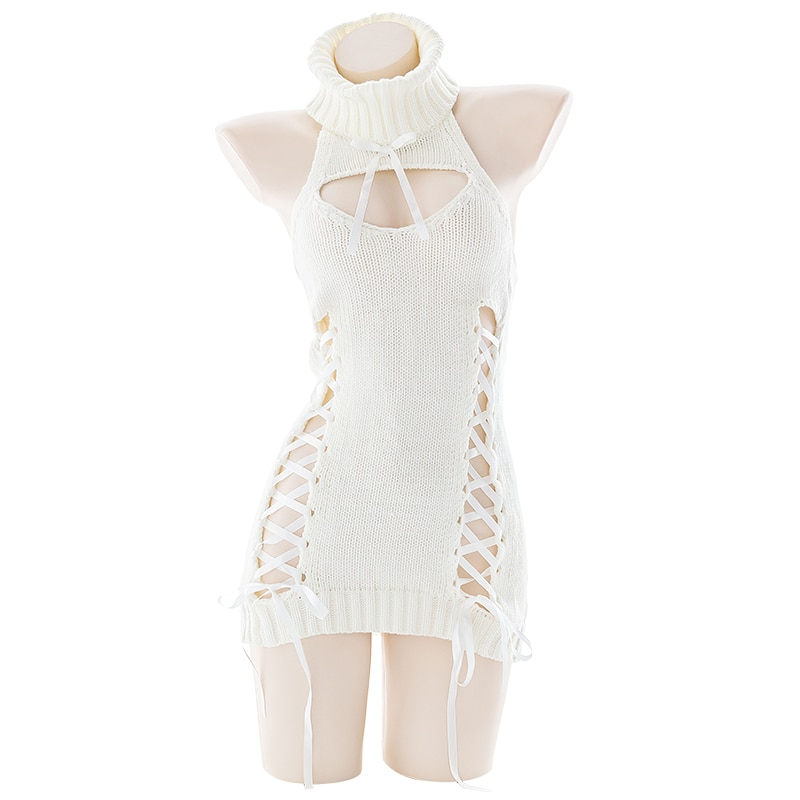 Anime Cat Cosplay Costumes Sexy Virgin Killer Sweater Open Chest Back Hollow Ribbon Strap Top Bandage Dress 2020 New Dropship