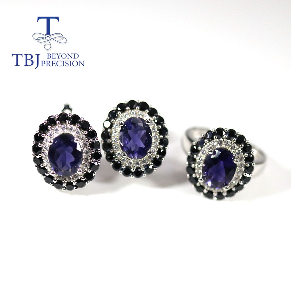 Promo 925 silver classic Blue iolite Jewelry set Natural Gemstone oval  7*9mm fine jewelry Ring earring for women mom nice gift