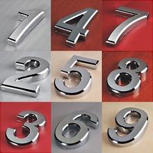 1 unidad de dirección de decoración del hogar chapada a la moda Scutcheon dígitos puerta del Hotel Placa de calcomanía signo de número de casa Placa de 5cm de plata moderna