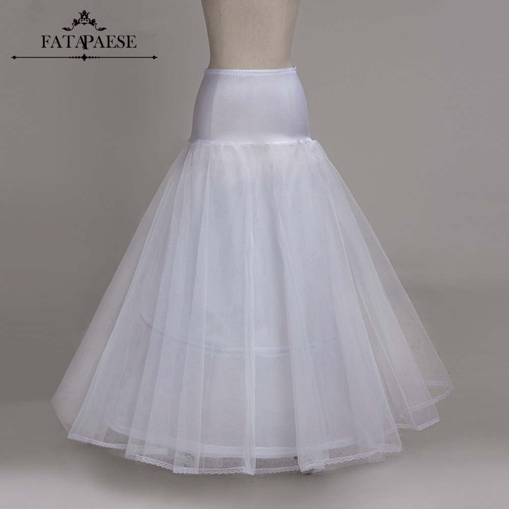 In Stock A-line 2 Hoops Petticoats for wedding dress Wedding Accessories Crinoline Cheap White Long Underskirt Free Size