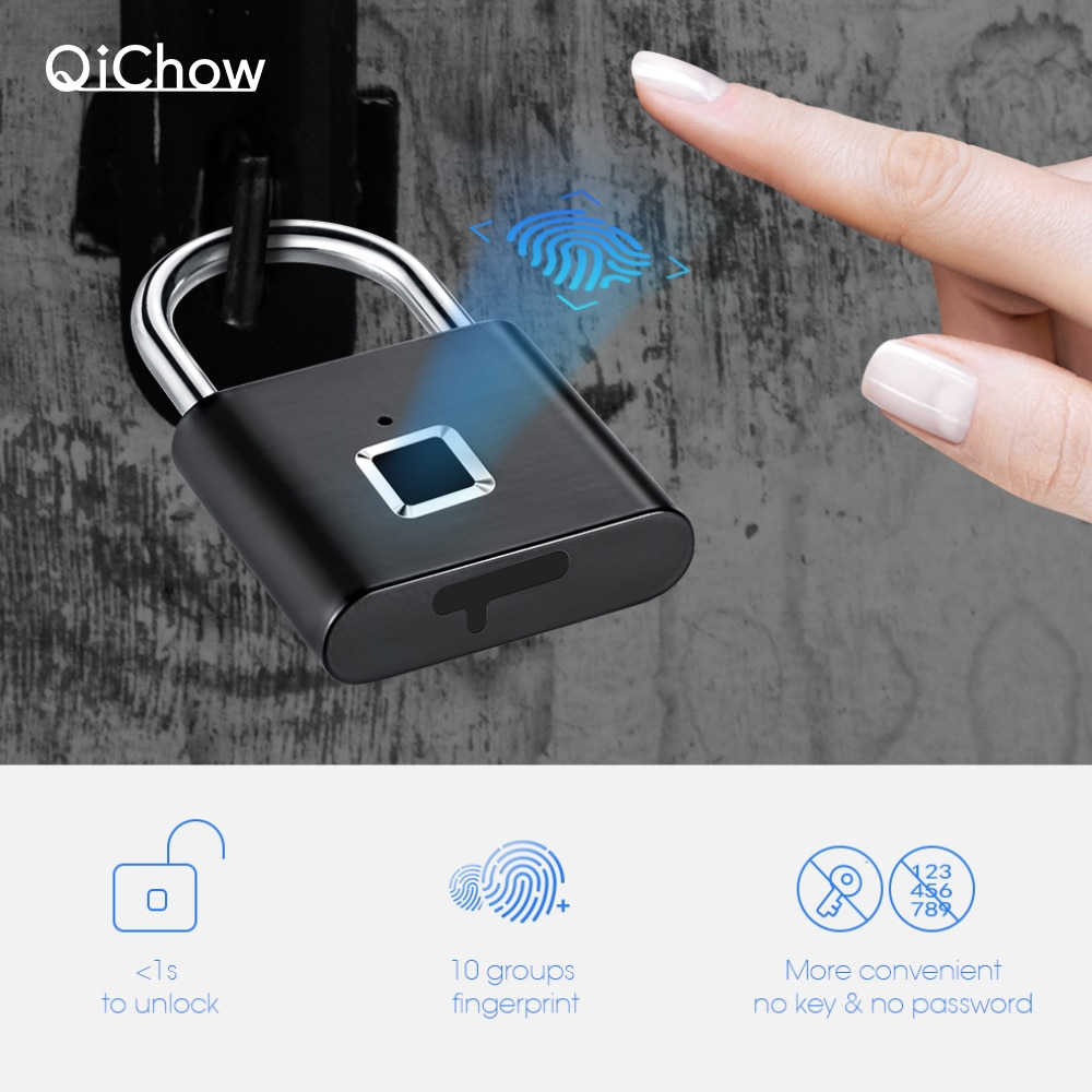 Keyless usb fechadura da impressão digital inteligente cadeado da porta de impressão digital thumbprint cadeado portátil anti-roubo de bloqueio de impressão digital para saco mala de gaveta