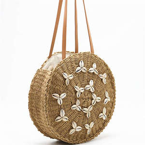 Round Straw Beach Bag Summer Woven Shell Handmade Shoulder Bag Girls Circle Rattan Braided Detail Tote Bag With zipper
