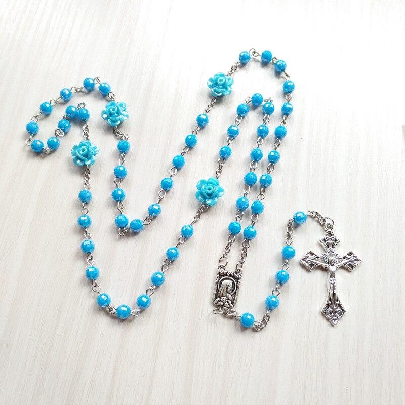 QIGO Catholic Acrylic Round Beads Rose Rosary Necklace For Women Religious Prayer Jewelry