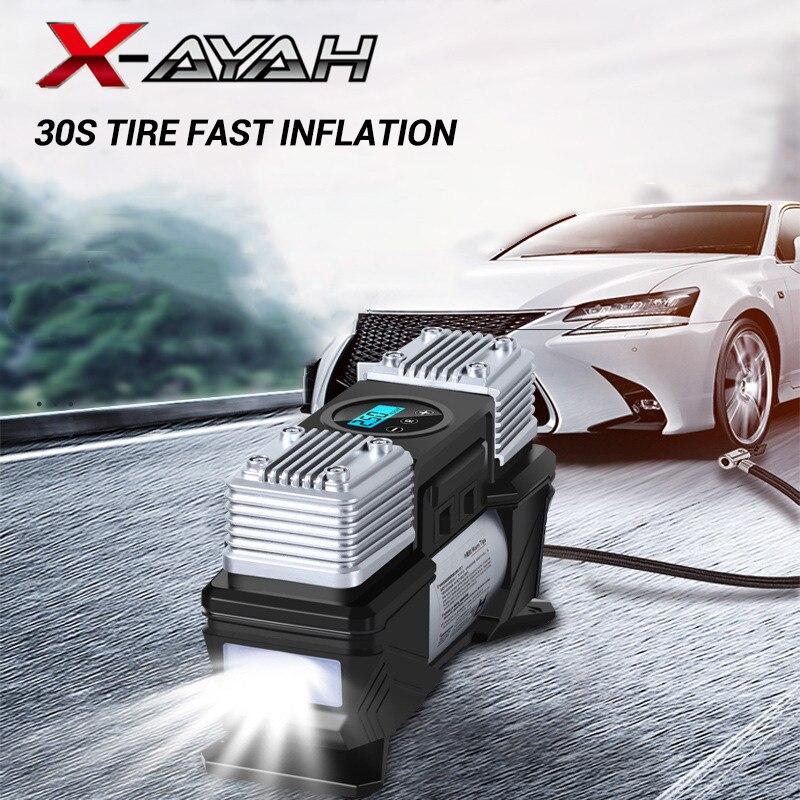 12 В высокомощный автомобильный двухцилиндровый насос воздушный компрессор светодиодный насос портативный автомобильный мотоциклетный на...