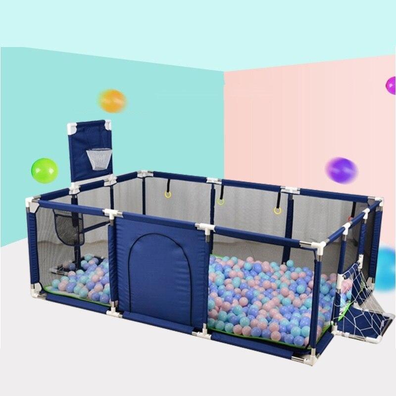 Parque infantil con canasta de baloncesto para niños, Parque infantil rectangular con valla para bebés, Parque infantil