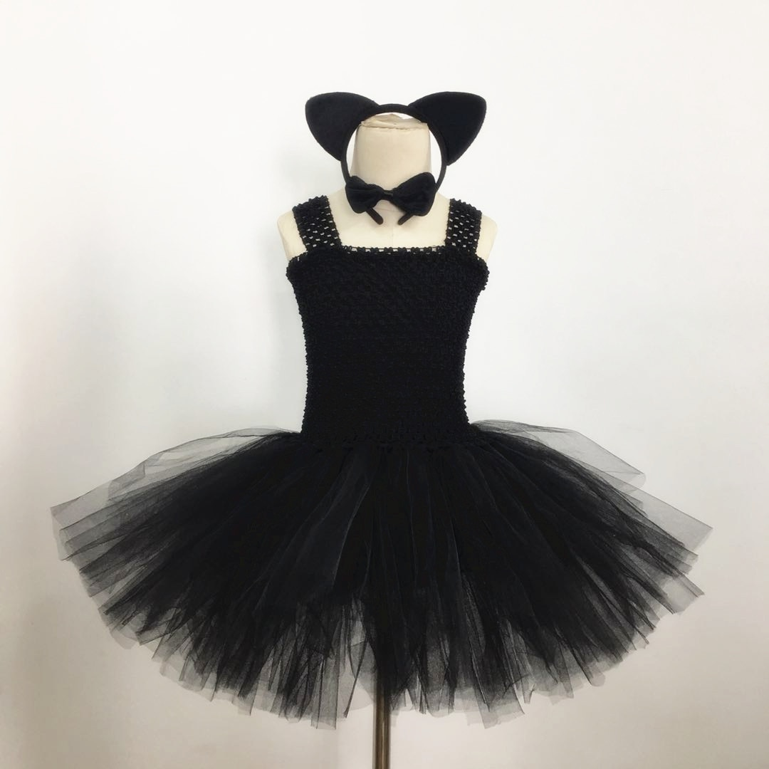 New Halloween Cosplay Costumes for Kids Girls Cute Black Cat Tutu Dress Party Fancy Clothes недорого