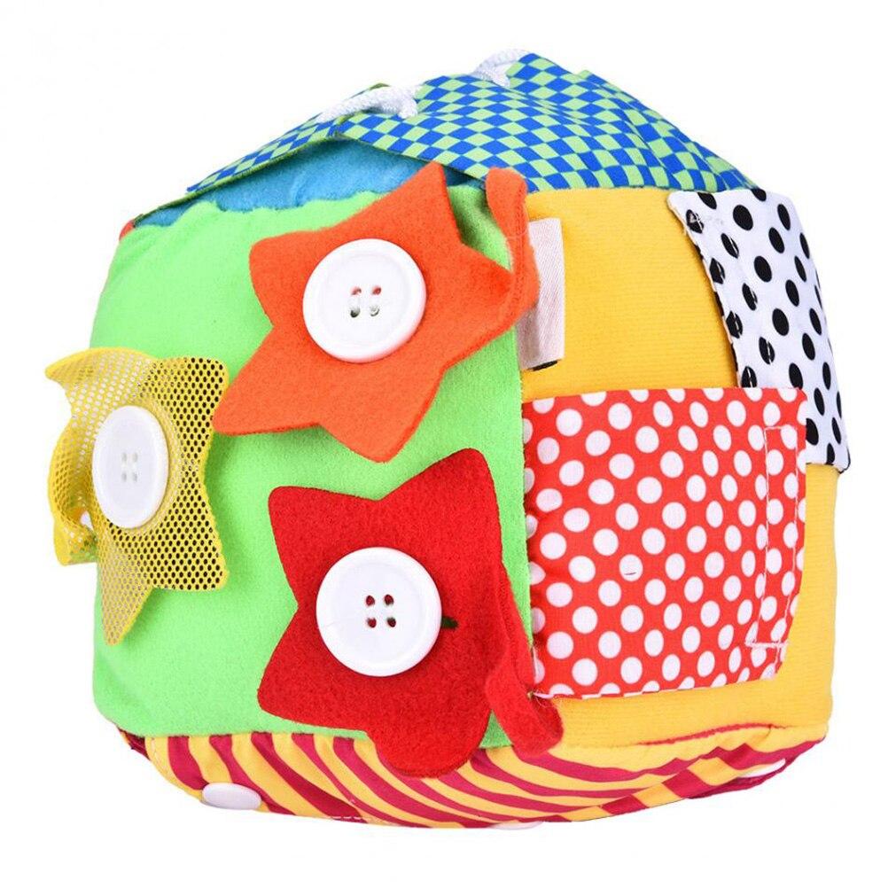 Multifuncional Vida Diária Simulação de Pelúcia Tecido Blocos Puzzle Educacional Bebê Zipper Atacadores Cognição Brinquedo Bola Quadrada #10