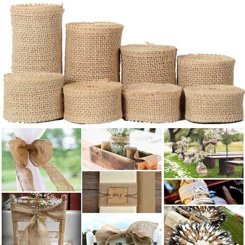 2Yard/roll Natural Jute Burlap Ribbon for Crafts DIY Hemp Ribbon Lace Material Wedding Party Decorative Christmas Gift Wrapping