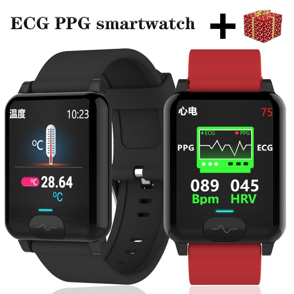 Ecg Ppg ساعة ذكية 2020 للرجال والنساء ساعات أندرويد Ios Smartwatch E04s ضغط الدم درجة الحرارة سوار بعداد خطوات الذكية
