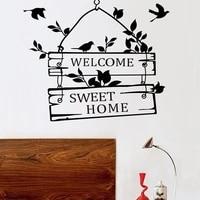 Bienvenue doux Home texte motifs autocollant mural decor a la maison salon Stickers papier peint chambre decoratif papillon autocollants