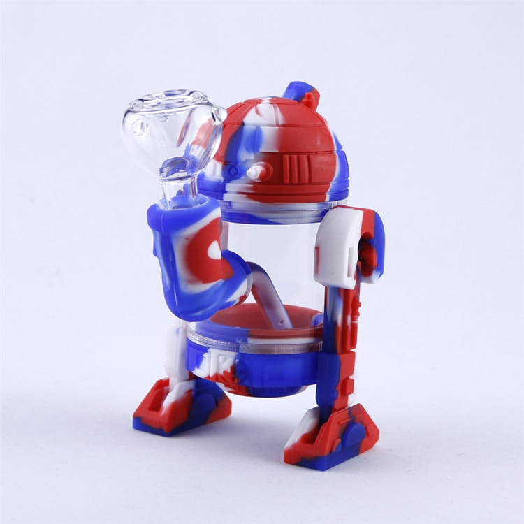 Holder Silicone Straw Water Filtering Robot design 6.3in Red/Blue