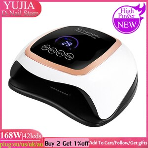 168W LED Nail Lamp Nail Dryer Dual Hands 42PCS LED UV Lamp For Curing UV Gel Nail Polish With Motion Sensing Manicure Salon Tool