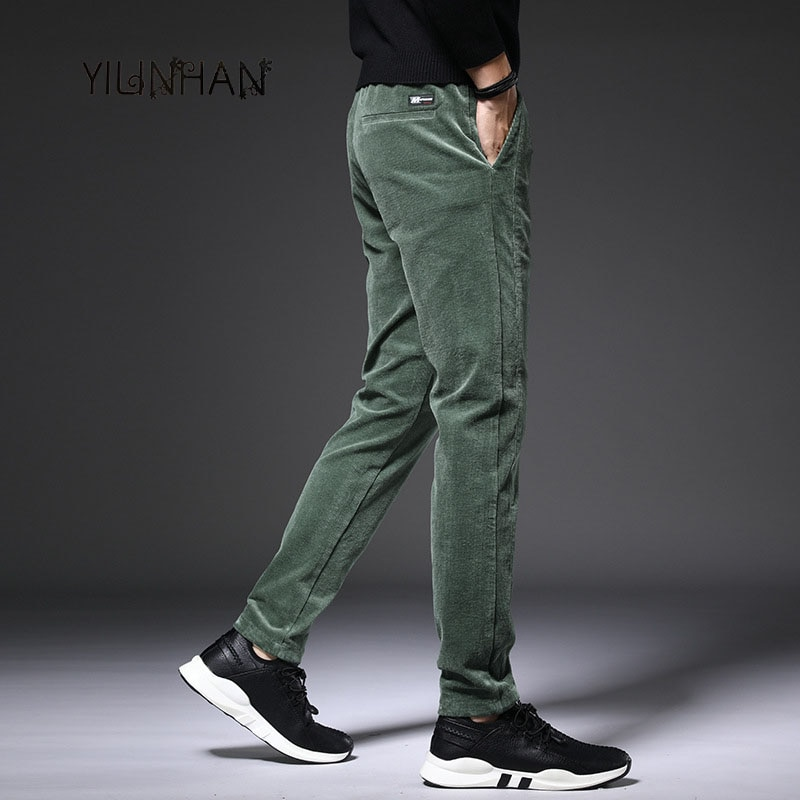 YILINHAN New 2021 Casual Pants Men's Business Simple Elastic Waist Trousers Korean Elastic Middle-aged Loose Straight-leg Pants