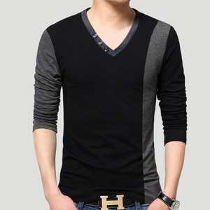 Summer Fashion Brand Men's T-Shirts Cotton Casual V-neck Tshirt Cotton Slim Fit T-shirt Plus Size Men Clothing