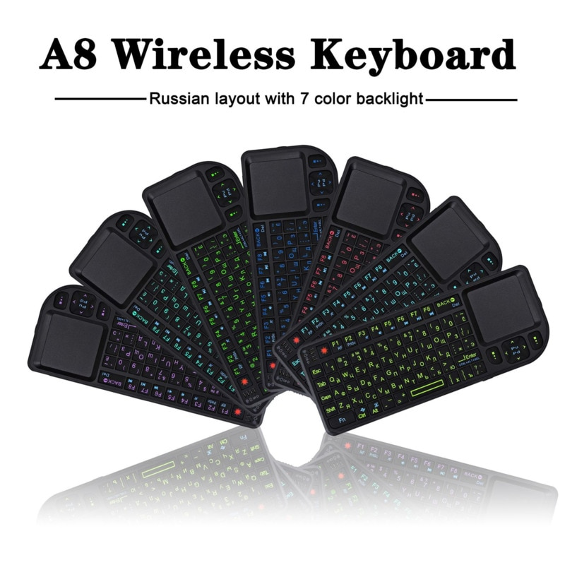 Mini tastera teclado inalámbrico Bluetooth retroiluminación de siete colores, proyección de teclado Multimedia con panel táctil, teclado Air Mouse