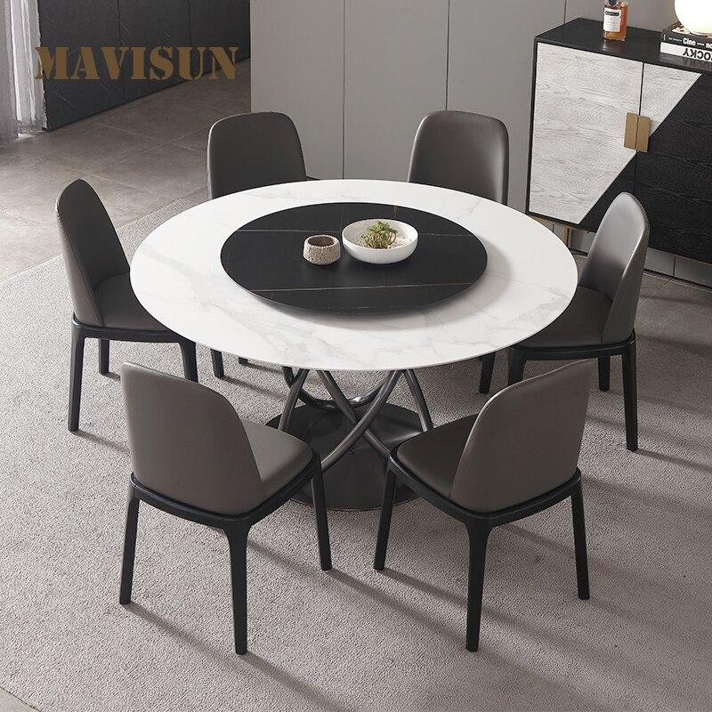 الشمال ضوء فاخر روك بلاطة طاولة مستديرة الحديثة بسيطة المنزلية قرص من الرخام للمنضدة طاولة طعام وكرسي الجمع بين الأثاث