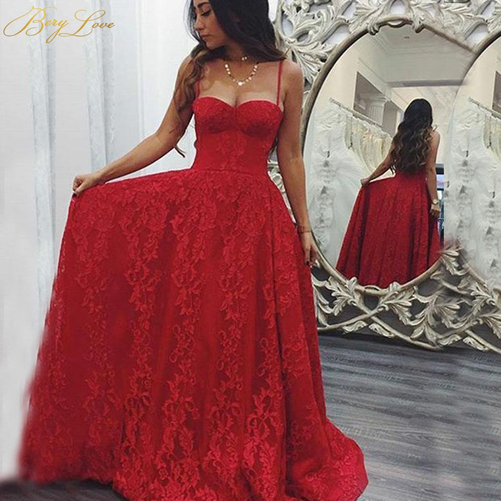 Low Neck Evening Dress 2020 Red Long Lace Appliques Formal Gown Custom Prom Party Skirt Spaghetti Straps