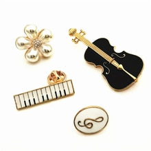 Design basse guitare piano broche musique notation perle broches sac accessoires goutte à goutte broche métal badges bijoux accessoires