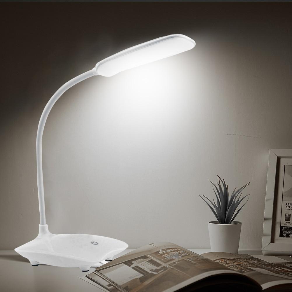 lampada de mesa de leitura led suporte recarregavel bateria 3 niveis brilho estudo