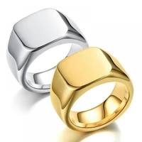 creative fashion flat square glossy ring personality men and women casual street party flat ring jewelry