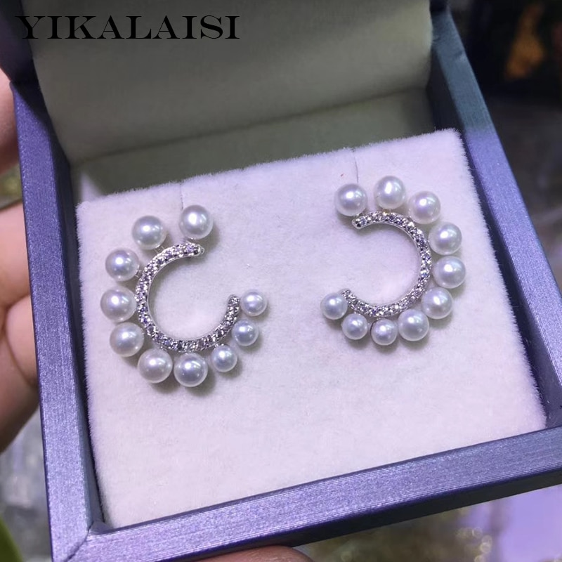 Yikalaisi brincos de pérola 925, joias de prata esterlina 2020, joias de pérola naturais finas 4-5mm, brincos stud para mulheres atacado por atacado
