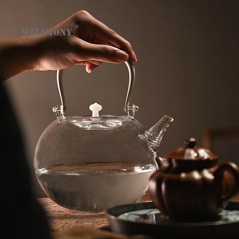 WIZAMONY أبريق شاي زجاجي سميكة ماكينة إعداد الشاي اليابانية-نمط براد شاي المحلية براد شاي شاي أبيض براد شاي براد شاي إبريق الشاي