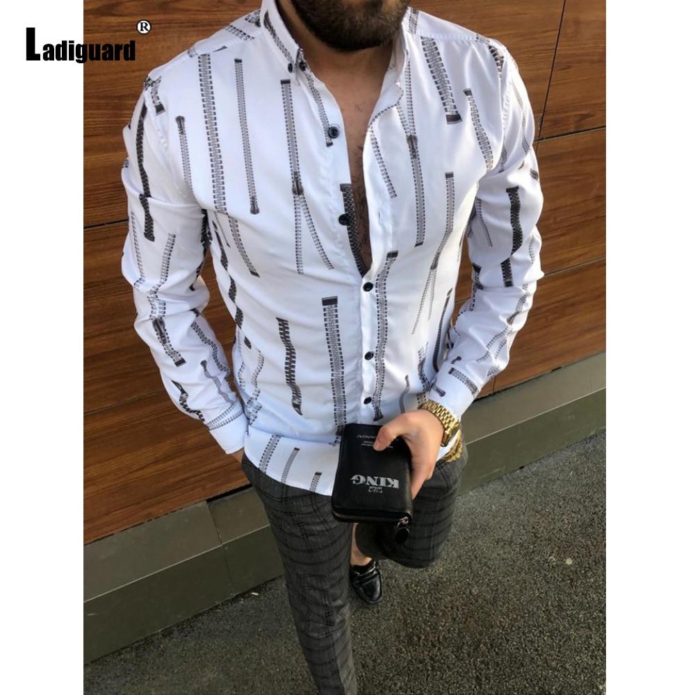2021 Модные топы размера плюс мужская элегантная обувь для отдыха блуза с длинным рукавом Повседневная рубашка с имитацией застежки-молнии с ...