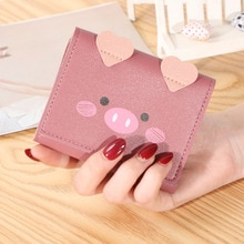 New Fashion Mini Women Wallets Short Soft Leather Ladies Coin Purses Cute Printed Card Holder for Gi