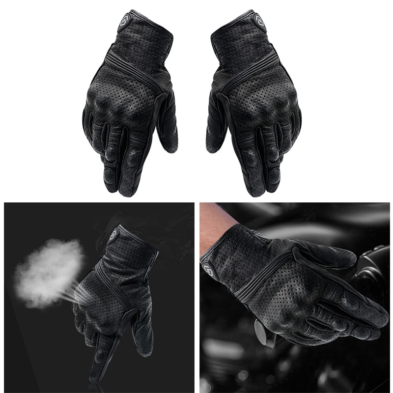 1 Pair Motocross Riding Gloves Outdoor Protective Gloves Leather Windproof GlovesPressSn Design Gloves