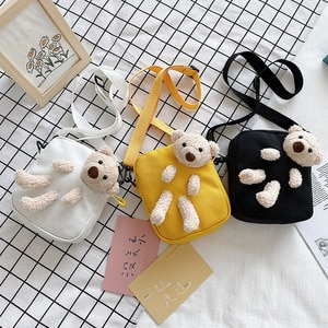 Casual bear doll decoration girls one-shoulder canvas bag new simple mini pure color zipper student new mobile phone coin purse