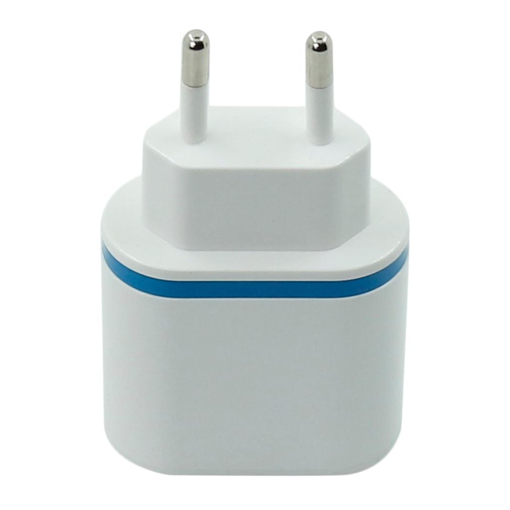 Carga rápida dupla usb carregador luminoso de carregamento adaptador de energia ue eua plug para ipad telefone móvel mp3 branco