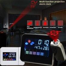 Réveil de Projection avec Station météo thermomètre affichage de la Date horloge numérique chargeur USB Snooze LED Projection