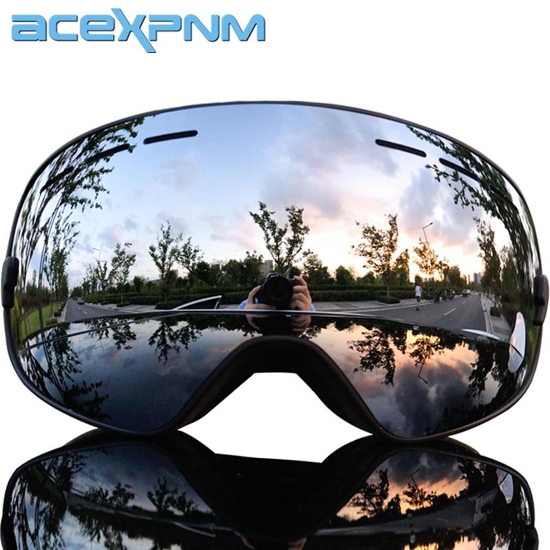 Acexpnm marca óculos de esqui camadas duplas uv400 anti-nevoeiro grande máscara de esqui óculos de snowboard de neve