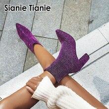 Sianie tianie glitter bling mulher botas de estiramento roxo prata xadrez leopardo sexy sock booties bloco salto alto botas femininas tornozelo