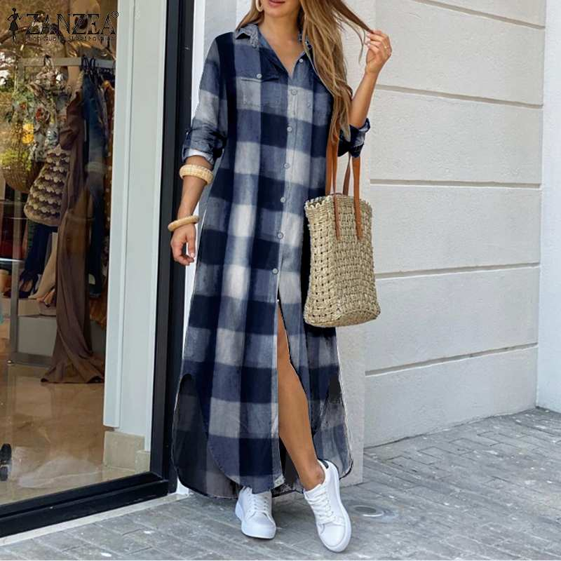 Moda feminina outono vestidos longos casual xadrez robe femme festa mangas completas vestidos zanzea lapela camisa vestido de grandes dimensões 5xl