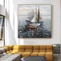 sailboat oil painting on canvas hand painted wall art for living room office wall decoration abstract seascape painting unframed