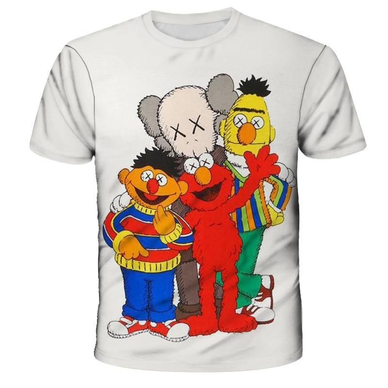 Летняя популярная детская одежда граффити-художники-Kaws детская футболка Топы для мальчиков/девочек одежда в стиле хип-хоп Уличная одежда ф...