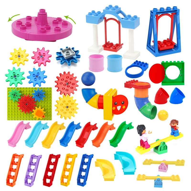 Big Building Blocks Pipeline Playground Spin Parts Slide Ladder Gear Swing Compatible Duplos Baby Assemble Interactive Toys Gift