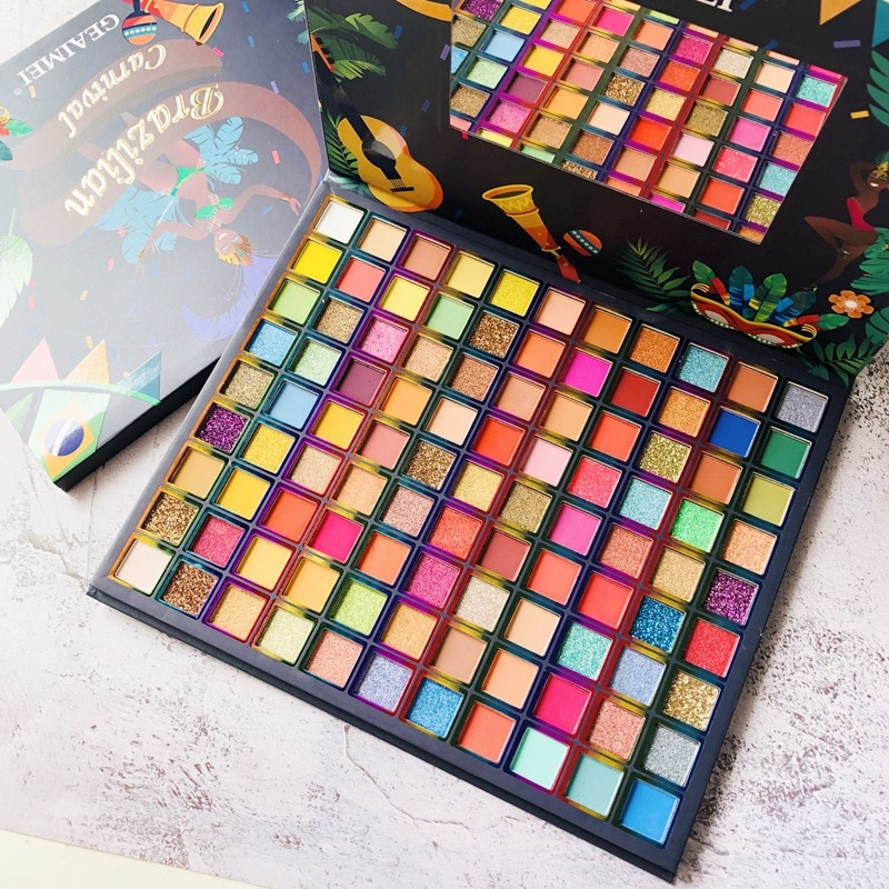 99 Colors Brazil Eye Shadow Palette Pigmented Pressed Powder Shimmer Eye Shadow Matte Glitter Stage Party Eyeshadow Palette changeable brand nude eye shadow palette makeup kit 18 color matte shimmer glitter pressed eyeshadow powder waterproof pigmented