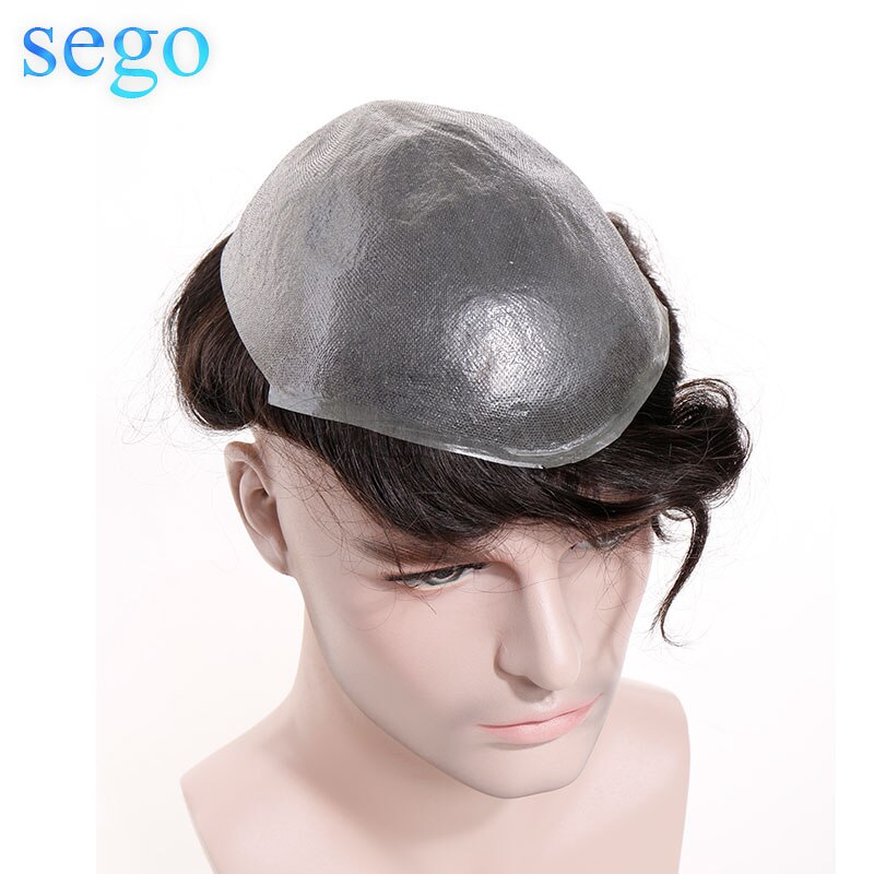 SEGO 8''x10'' Durable Thin Skin PU Men Toupee Hair System Remy Human Hair Indian Hair Replacement Hairpiece Density 90%