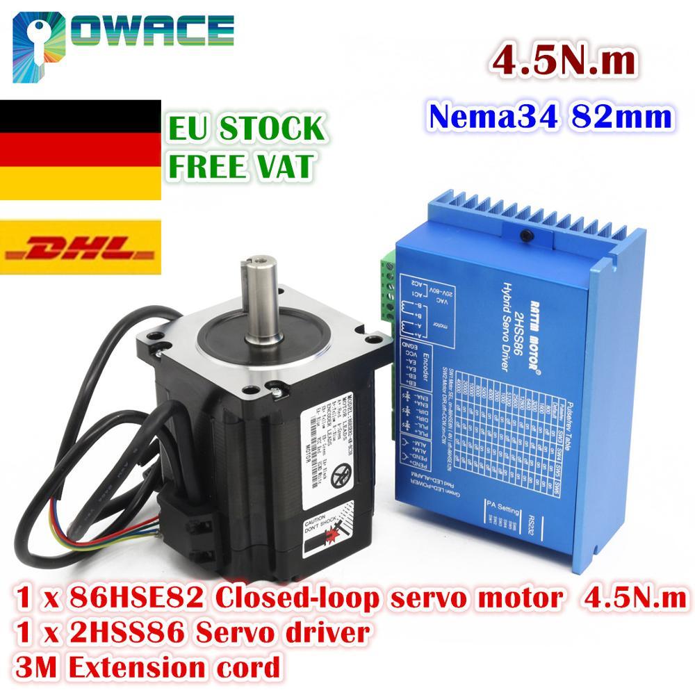 [ЕС Шток/Бесплатный НДС] Nema34 4.5N.m замкнутый цикл Серводвигатель 82 мм 6A и 2HSS86H Гибридный шаг Серводвигатель набор контроллеров CNC 8A
