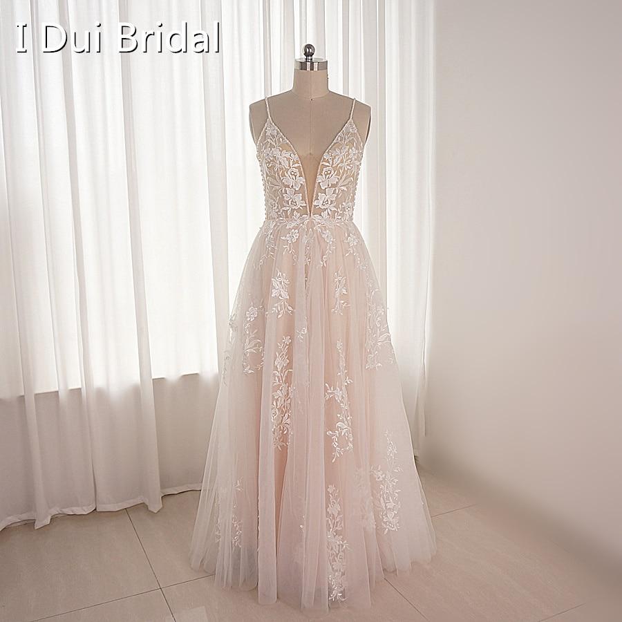 خط الأزهار الدانتيل زين مطرز فستان الزفاف السباغيتي حزام طول الكلمة مخصص جعل