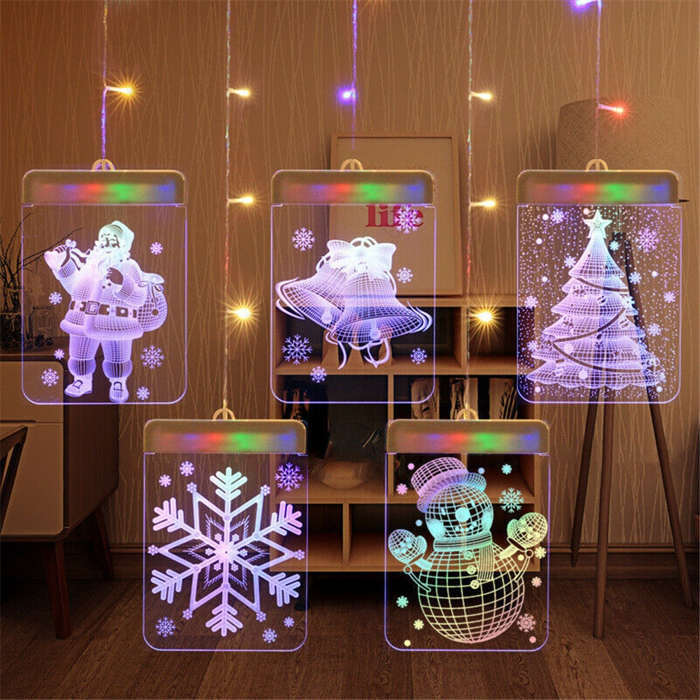 Personalidade 3d led luzes da noite lâmpada crianças decoração do quarto papai noel boneco de neve toalha árvore natal luz flash festa de casamento presentes