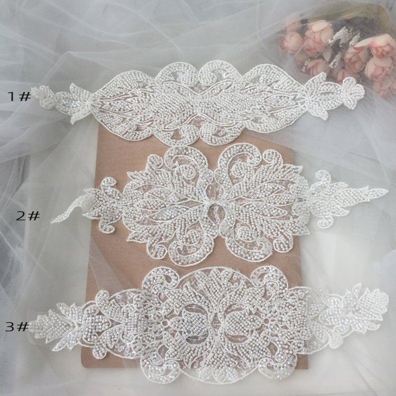 Lujo con cuentas y aplique de lentejuelas-blanco roto-Cinturón de encaje de malla nupcial-Diadema-accesorio de banda de boda-1 pieza