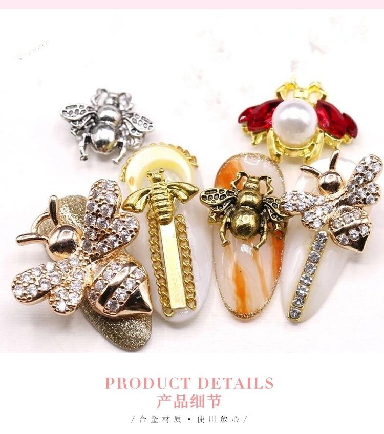 Lote de 50 Uds de 8 estilos de abalorios antiguos de bronce con forma de abeja para decoración de uñas, abalorios para esmaltes de uñas en gel, abalorios de joyería artesanal, JH-44