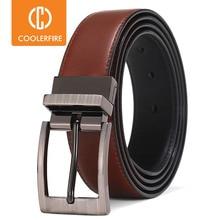 Cinturones de cuero con hebilla Reversible para hombre, cinturones de moda de negocios de lujo, de dos lados, Color negro, marrón, StrapHQ117